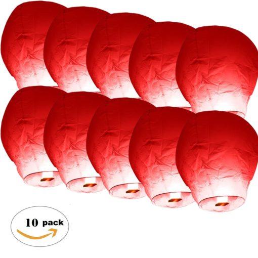 lanterne-volante-chinoise-thailandaise-Rouge-en lot-biodégradable