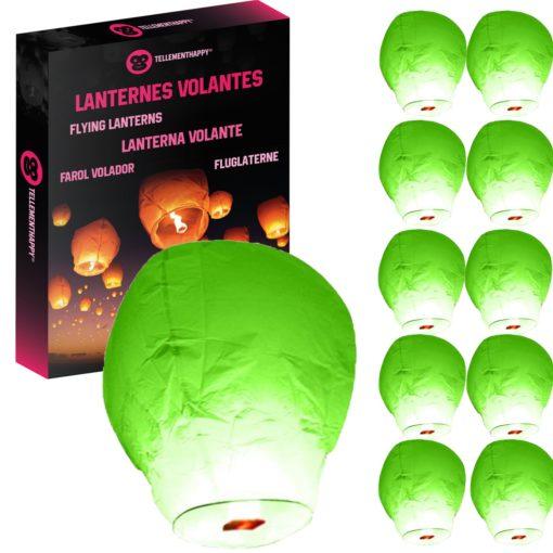 Lanterne Volante Verte Biodégradable TellementHappy